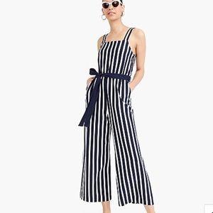 J. Crew Knit tie-waist striped jumpsuit